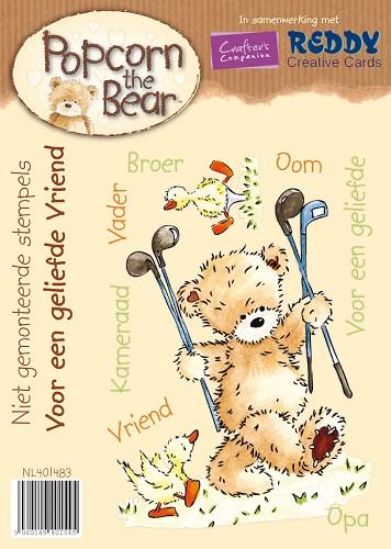 Rubber stamp - Popcorn the bear - OPRUIMING